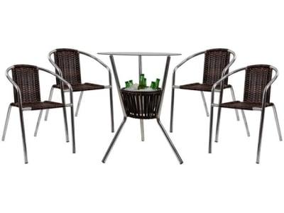 Conjunto de Mesa para Área Externa de Fibra - com 4 Cadeiras Alegro Móveis CJMB40199 - Magazine Ofertaesperta