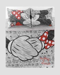 Kit Colcha Dupla Face Queen e Casal Microfibra Mickey e Minnie Love