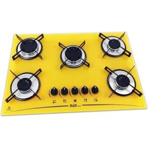 Cooktop 5 Bocas Amarelo Mega Chama D&d Metal Bivolt Ce05am