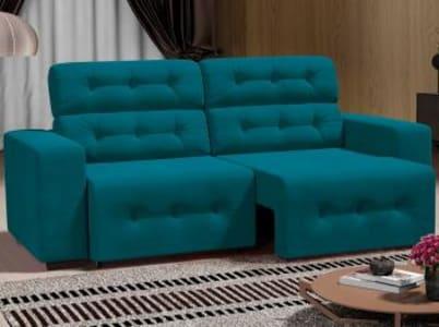 Oferta ➤ Sofá 4 Lugares Retrátil e Reclinável – Revestimento Suede Prince – Linoforte   . Veja essa promoção