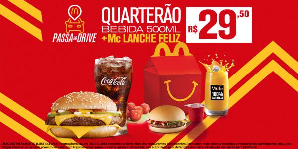 Cupom McDonalds - Quarterão + Bebida 500ml + McLanche Feliz R$29,50