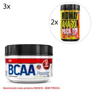 Kit Midway 3x BCAA Powder USA Hidrossolúvel + 2x Anabol Pack USA