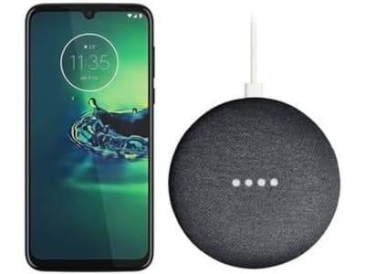 "Smartphone Motorola G8 Plus 64GB Azul Safira 4G - 4GB RAM Tela 6,3"" + Google Nest Mini Preto"