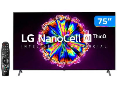 "Smart TV 8K NanoCell IPS 75"" LG 75NANO95SNA - Wi-Fi Bluetooth HDR Inteligência Artificial 4 HDMI - Magazine Ofertaesperta"