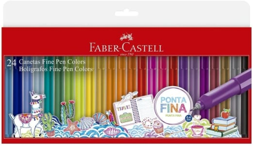 Caneta Ponta Fina, Faber-Castell, Fine Pen, FPB/ES24ZF, 24 Cores, Multicor