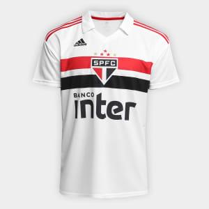 Oferta ➤ Camisa São Paulo I 2018 s/n° Torcedor Adidas Masculina – Branco e Vermelho   . Veja essa promoção