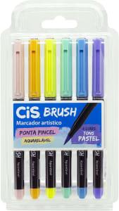 Marcador Artístico CIS Brush Estojo com 6 Cores Tons Pastel