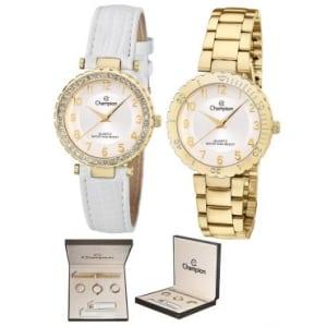 dc8e4723c40 Kit Relógio Feminino Analógico Champion Dourado