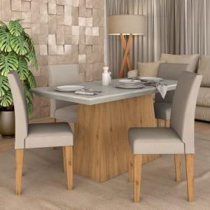 Conjunto Sala De Jantar 4 Cadeiras Italia Cinamomo - Móveis Arapongas