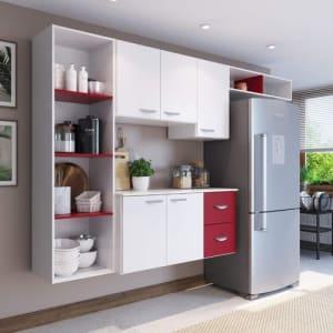 Armário de Cozinha Compacta 4 Peças 5 Portas Anabela Espresso Móveis Branco/Vinho