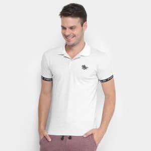 Camisa Polo Rg 518 Pontilhada Manga Logo Masculina - BrancoCamisa Polo Rg 518 Pontilhada Manga Logo Masculina - Branco