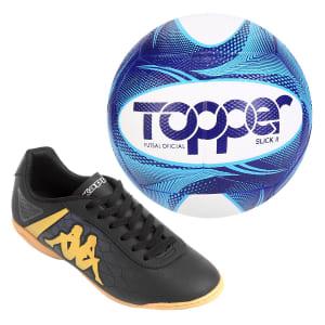 Kit Chuteira e Bola Futsal - Preto e Dourado