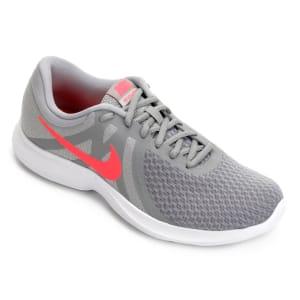 Tênis Nike Revolution 4 Feminino - Cinza e Vermelho