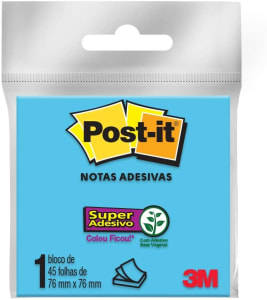10 Pacotes de Bloco De Notas Super Adesivas Post-it Azul 76 Mm X 76 Mm - 45 Folhas