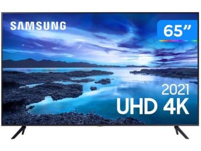 "Smart TV 65"" Crystal 4K Samsung 65AU7700 Wi-Fi - Bluetooth HDR Alexa Built in 3 HDMI 1 USB - Magazine Ofertaesperta"