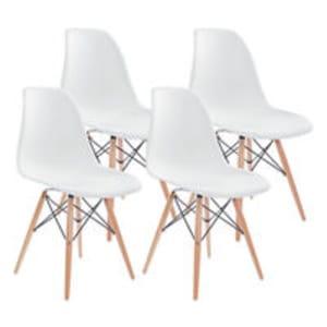Conjunto de Cadeiras Brancas Base Eiffel em Aço Carrefour Home Eames - 4 Unidades