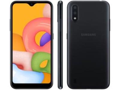 "Smartphone Samsung Galaxy A01 32GB Preto Octa-Core - 2GB RAM Tela 5,7"" Câm. Dupla + Câm. Selfie 5MP Preto"