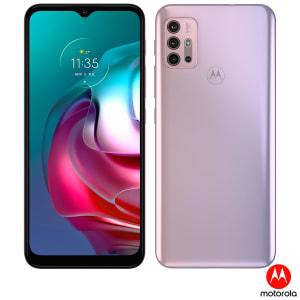 "Smartphone Motorola Moto G30 4GB RAM 128GB 4G Tela 6,5"" Câm. Quádrupla + Selfie 13MP White Lilac"