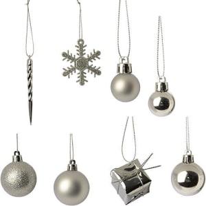 Conjunto de Enfeites de Árvore Diversos Prateados 100 Unidades - Orb Christmas