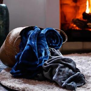 [Azul ou grafite] Cobertor Queen Flannel 3D Geométrico