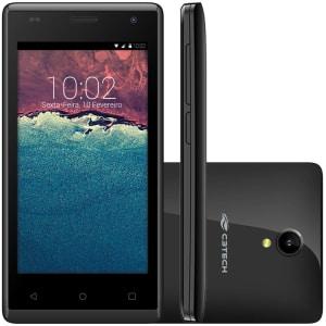 Smartphone C3Tech, Processador Quadcore, Android 6.0, Tela 4,5´, 5MP, 8GB, 3G, Desbloquado - Preto + tampa traseira Azul - SM-450
