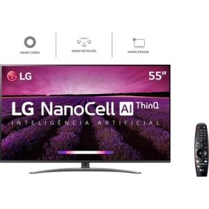 Smart TV LED LG 55'' 55SM8100 Ultra HD 4K NanoCell com Conversor Digital 4 HDMI 3 USB Wi-Fi 240Hz - Preta