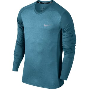 Camiseta Nike Dri-Fit Miler Manga Longa Masculina - Verde água