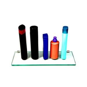 Porta Shampoo Reto Em Vidro Incolor Lapidado- Aquabox - 40cmx14cmx10mm