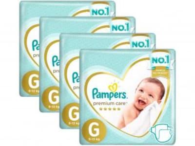 Kit Fraldas Pampers Premium Care Tam. G - 9 a 13Kg 30 Unidades Cada 4 Pacotes