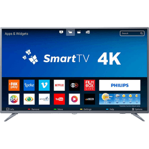 "Smart TV LED 50"" Philips 50PUG6513/78 Ultra HD 4k com Conversor Digital 3 HDMI 2 USB Wi-Fi 60hz - Prata"