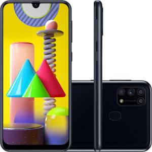 "Smartphone Samsung Galaxy M31 Dual Chip Android 10.0 Tela 6.4"" Octa-Core 128GB 4G Câmera Quádrupla 64MP+8MP+5MP+5MP - Preto"