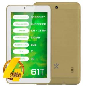 "Tablet Mirage 61t 3G Quadcore Tela 7"" Dual Camera 2mp + 1.3mp Dual Chip Android 4.4 Dourado 2003"