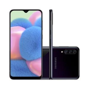 "Smartphone Samsung Galaxy A30s 64GB Preto 4G Tela 6.4"" Câmera Tripla 25MP Selfie 16MP Dual Chip Android 9.0"