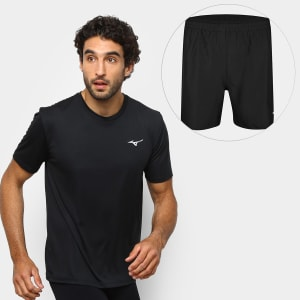 Kit Camiseta Mizuno New Masculina + Bermuda Mizuno Master Fitness - Preto
