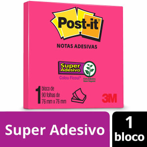 Bloco de Notas Super Adesivas Post-it Pink Neon 76 mm x 76 mm - 90 folhas