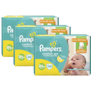 KIt Fralda Pampers Confort Sec RN Plus com 108 Unidades