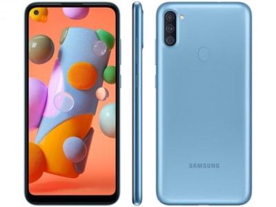 """Confira ➤ Smartphone Samsung Galaxy A11 64GB Azul 4G – Octa-Core 3GB RAM 6,4"""" Câm. Tripla + Selfie 8MP – Magazine ❤️ Preço em Promoção ou Cupom Promocional de Desconto da Oferta Pode Expirar No Site Oficial ⭐ Comprar Barato é Aqui!"""