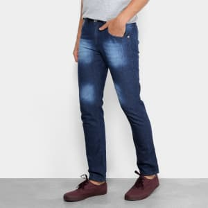 Calça Jeans Slim Preston Bigode Masculina - Azul
