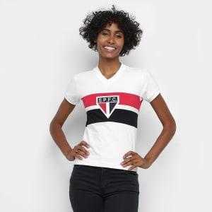 Camisa São Paulo 1980 Retrô Mania Feminina - Branco