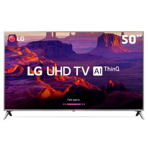 "Smart TV LED 50"" Ultra HD 4K LG 50UK6520PSA com Inteligência Artificial ThinQ AI, WI-FI, Processador Quad Core, HDR 10 Pro, HDMI e USB"