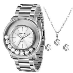 Relógio Feminino Analógico Lince LRM607L com Colar e Par de Brincos - Prata