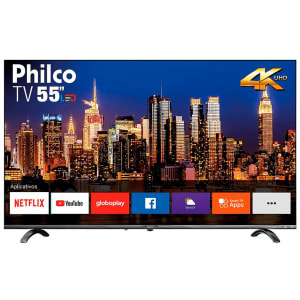 Smart TV LED 55 Philco PTV55Q20SNBL Ultra HD 4k HDR Borda Infinita 4K Cinza Bivolt