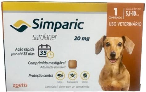 Simparic 20Mg, 5,1 Até 10Kg, 1Cp Zoetis Para Cães