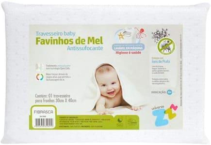 Travesseiro Favinhos Baby Antissufocante Lavável Revestimento 30x40cm - Fibrasca