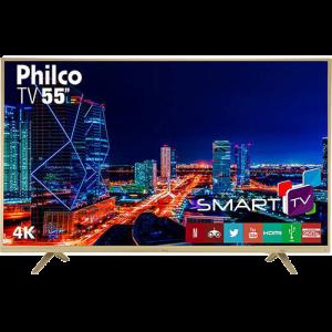 "Smart TV LED 55"" Philco PTV55U21DSWNC UHD 4K com Conversor Digital 3 HDMI 2 USB Wi-Fi Netflix - Champagne"