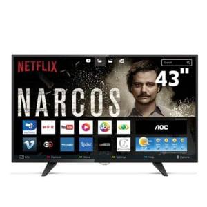 """Smart TV LED 43"""" Full HD AOC LE43S5977 com Wi-Fi, Botão Netflix, App Gallery, Conversor Digital Integrado, Entradas HDMI e USB"""