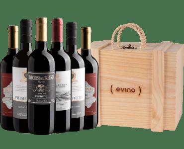 Kit 6 Vinhos + Caixa de madeira