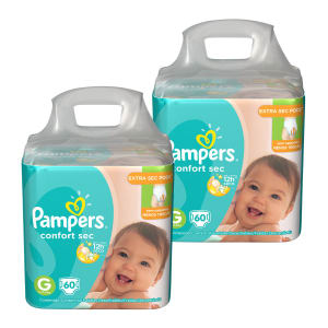 Kit de Fraldas Pampers G Confort Sec Super - 120 Unidades
