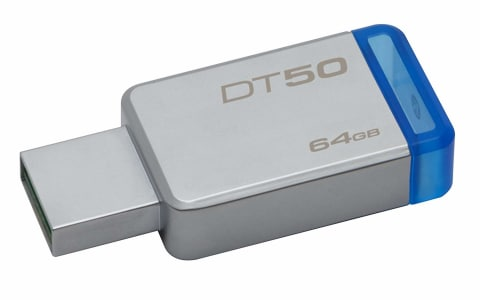 Oferta ➤ Pendrive DataTraveler 50 64GB, Kingston, Pendrives, Prata/Azul   . Veja essa promoção