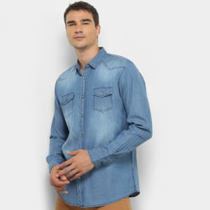 Oferta ➤ Camisa Jeans Manga Longa Watkins & Krown Estonada Masculina   . Veja essa promoção